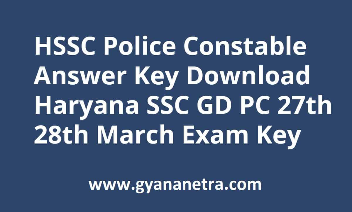 HSSC Police Constable Answer Key Paper PDF