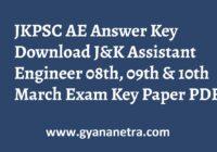 JKPSC AE Answer Key Paper PDF