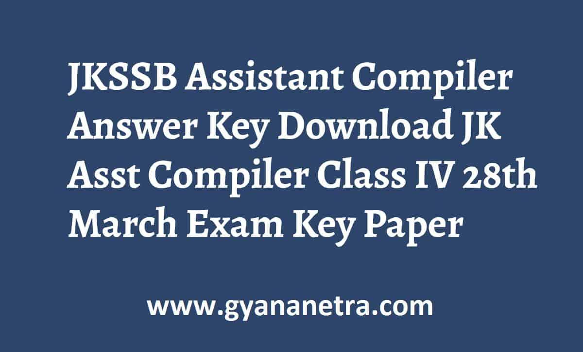JKSSB Assistant Compiler Answer Key Paper PDF