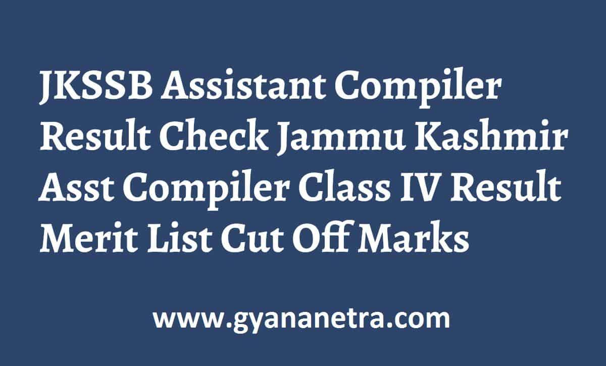 JKSSB Assistant Compiler Result Merit List