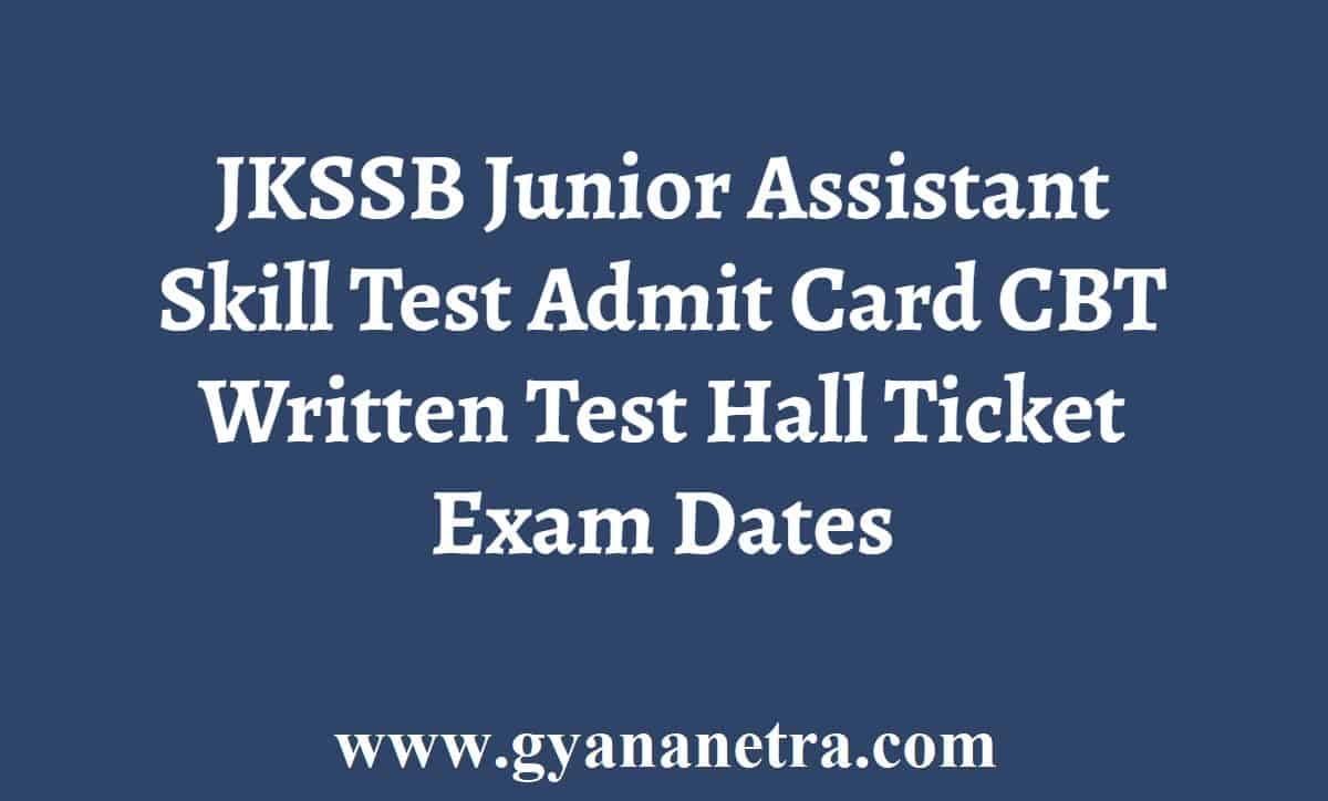 JKSSB Junior Assistant Admit Card
