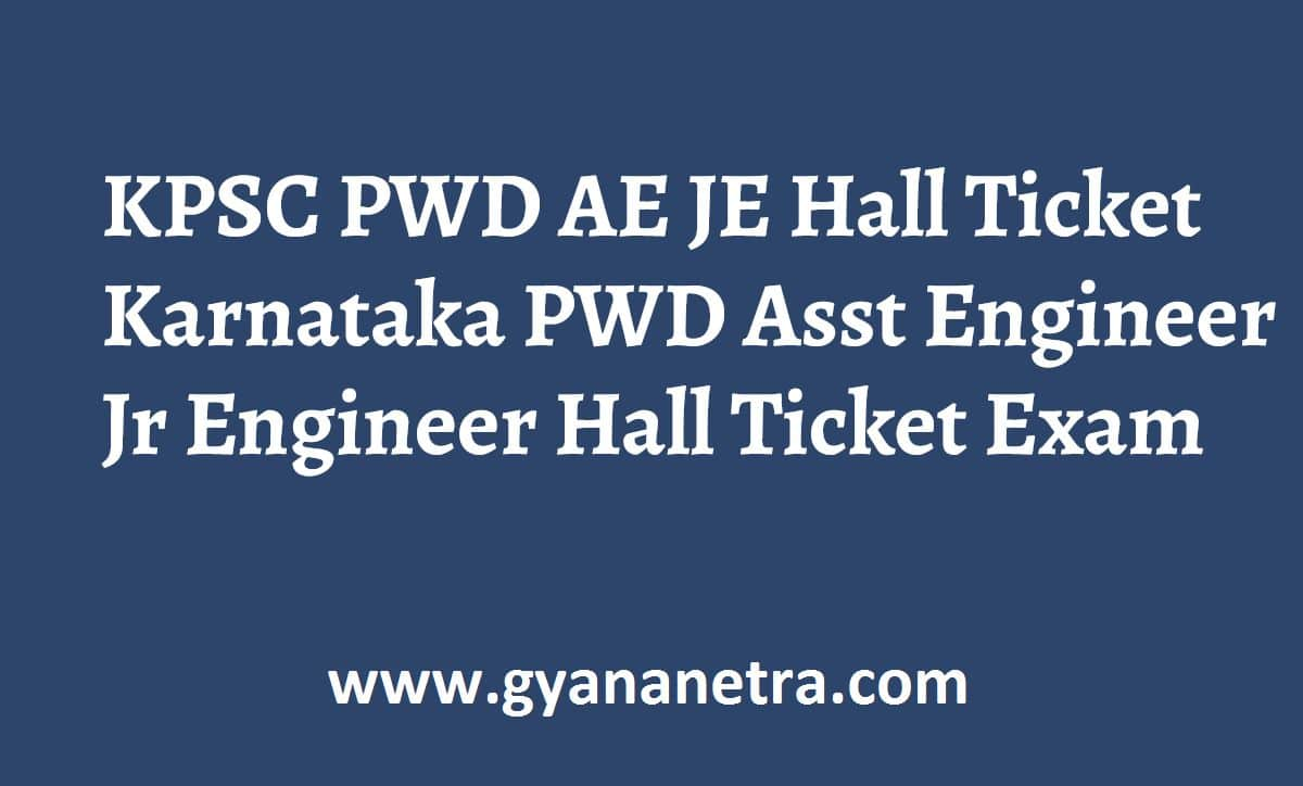 KPSC AE JE Hall Ticket Exam Dates