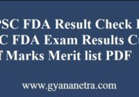 KPSC FDA Result Merit List