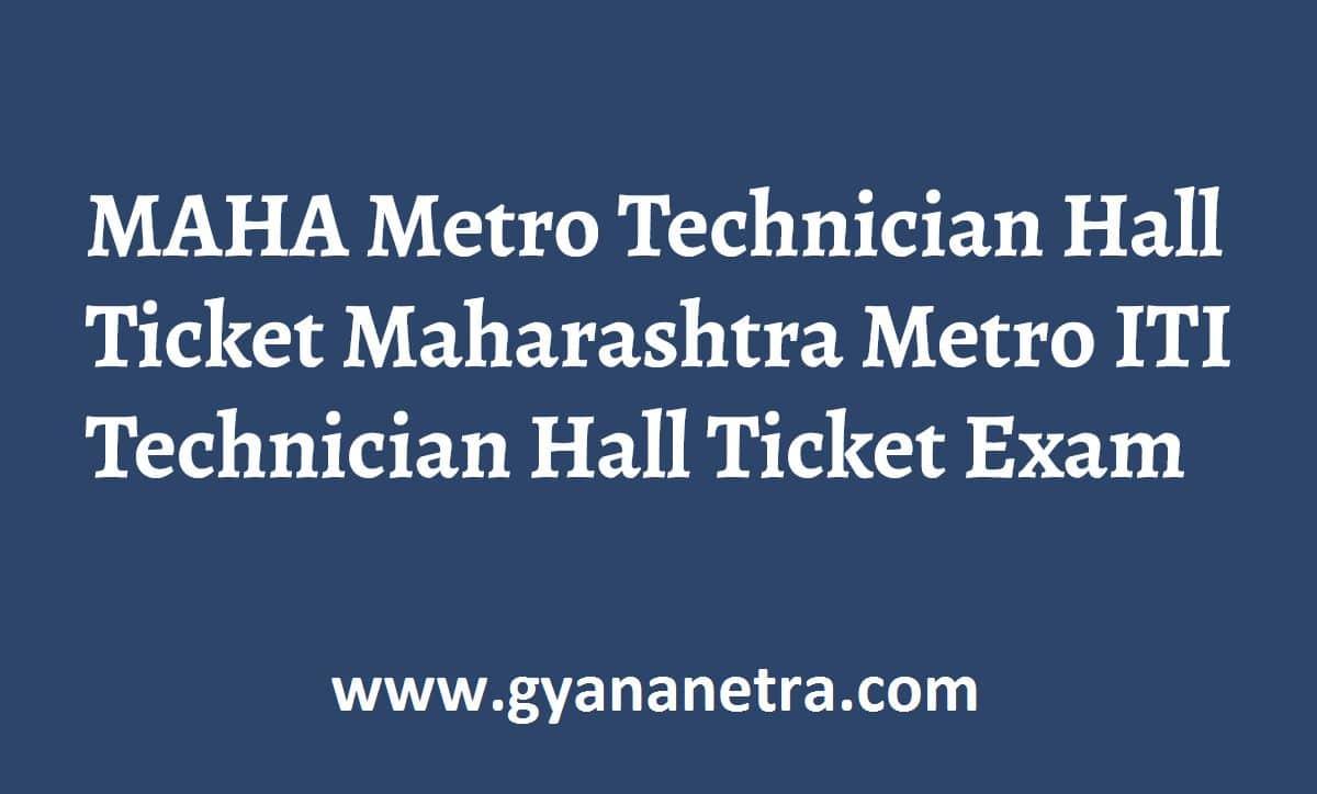 MAHA Metro Technician Hall Ticket Exam Dates