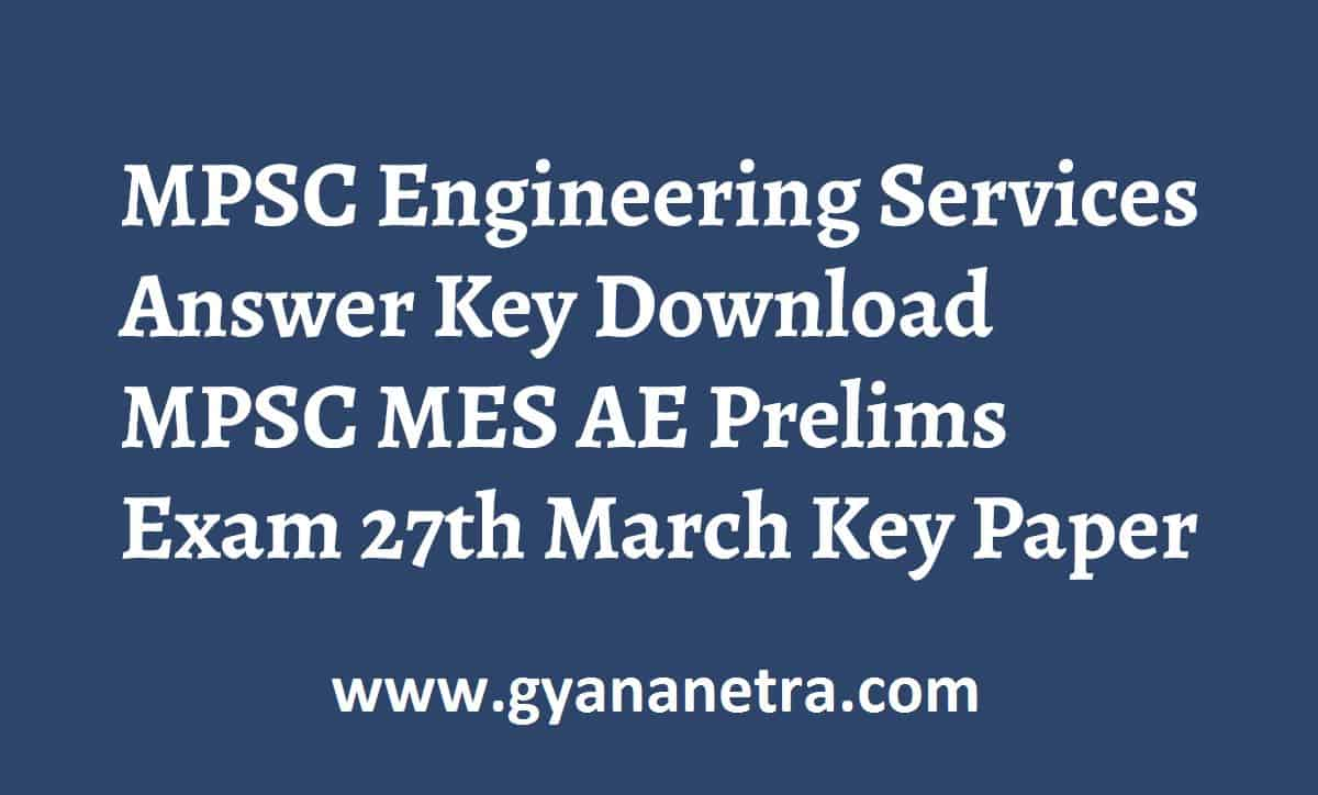 MPSC Engineering Services Answer Key Paper PDF