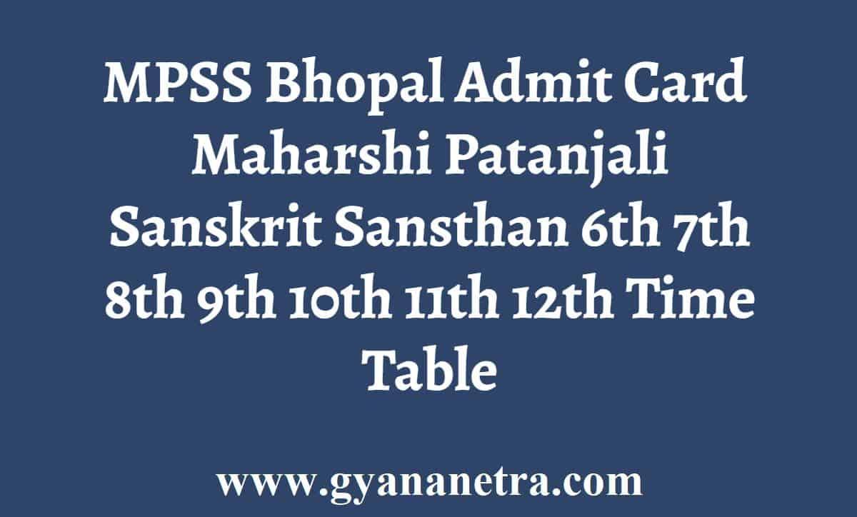 MPSS Bhopal Admit Card