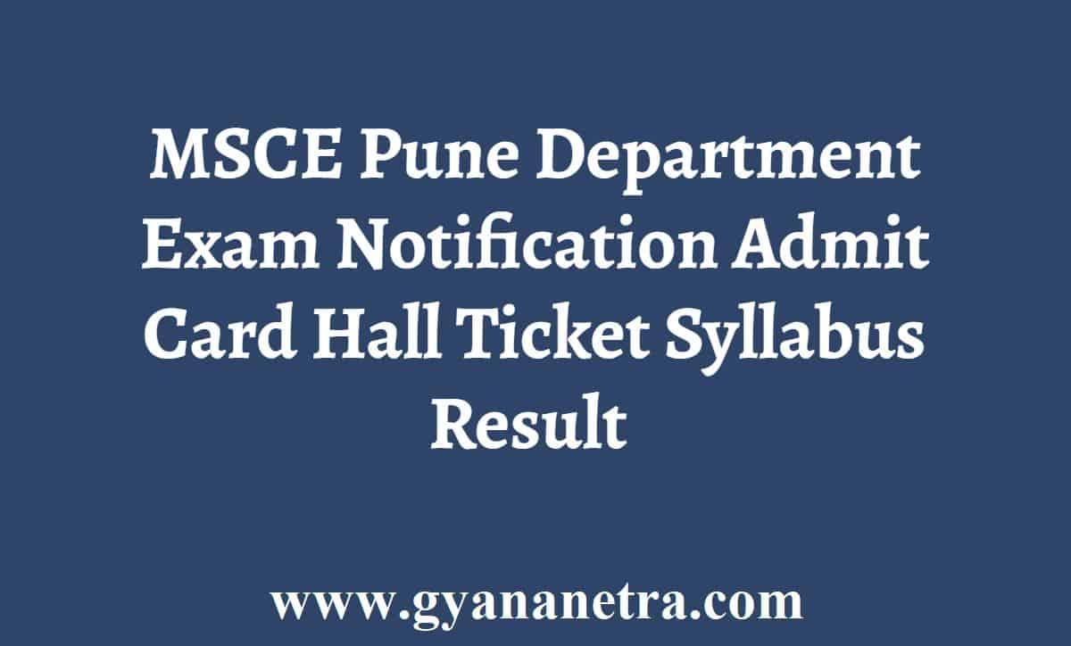 MSCE Pune Department Examination