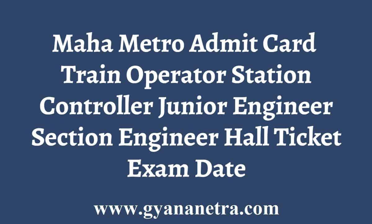 Maha Metro Admit Card Hall Ticket