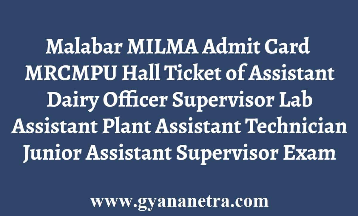 Malabar Milma Admit Card