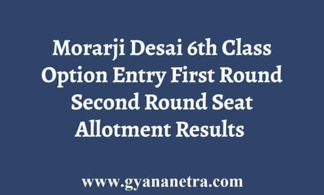 Morarji Desai Option Entry Seat Allotment Result