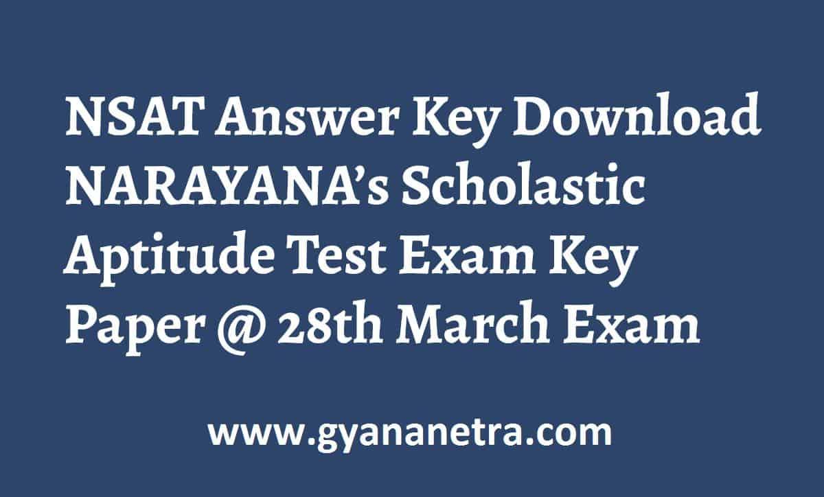 NSAT Answer Key Paper PDF