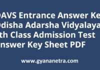 OAVS Entrance Answer Key 06th Class Admission Test