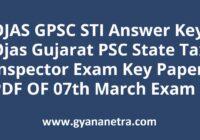 OJAS GPSC STI Answer Key PDF