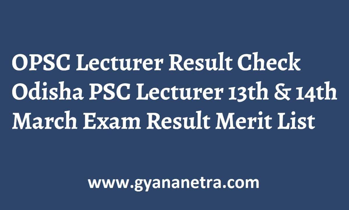 OPSC Lecturer Result Merit List
