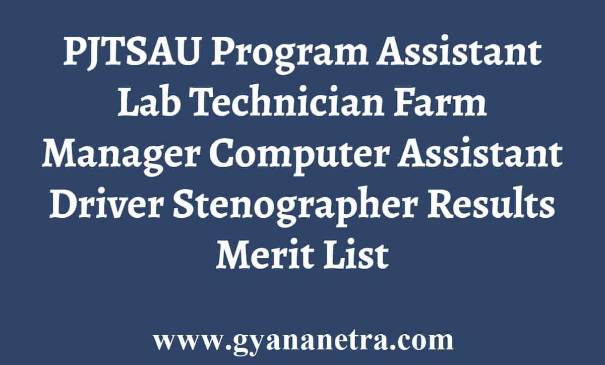 PJTSAU Program Assistant Results