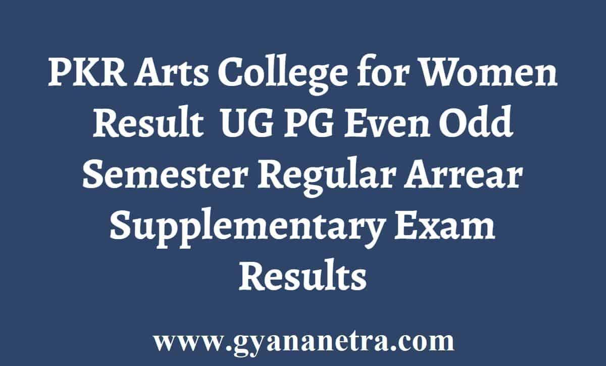 PKR Arts College Result