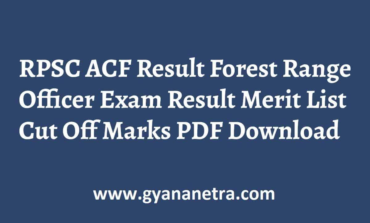 RPSC ACF Result Merit List