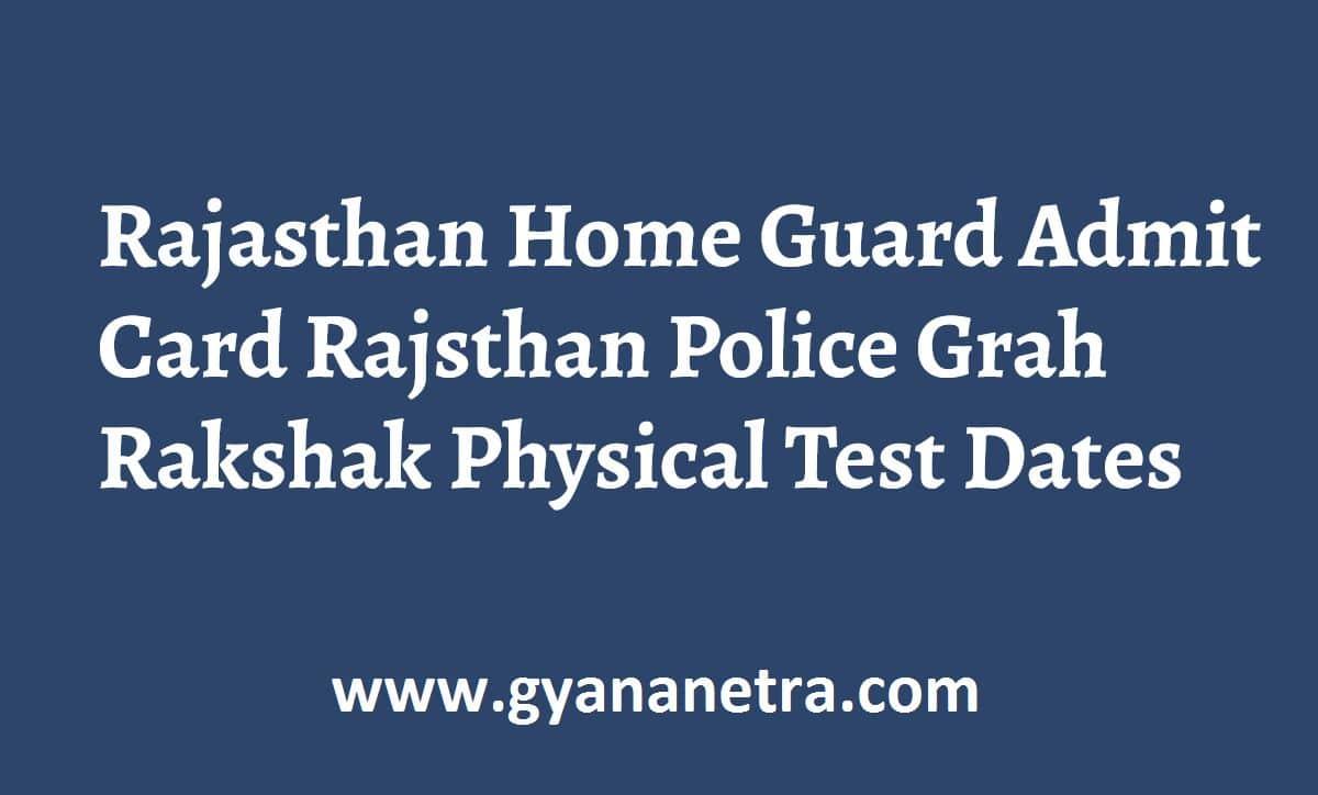 Rajasthan Home Guard Admit Card PET PMT