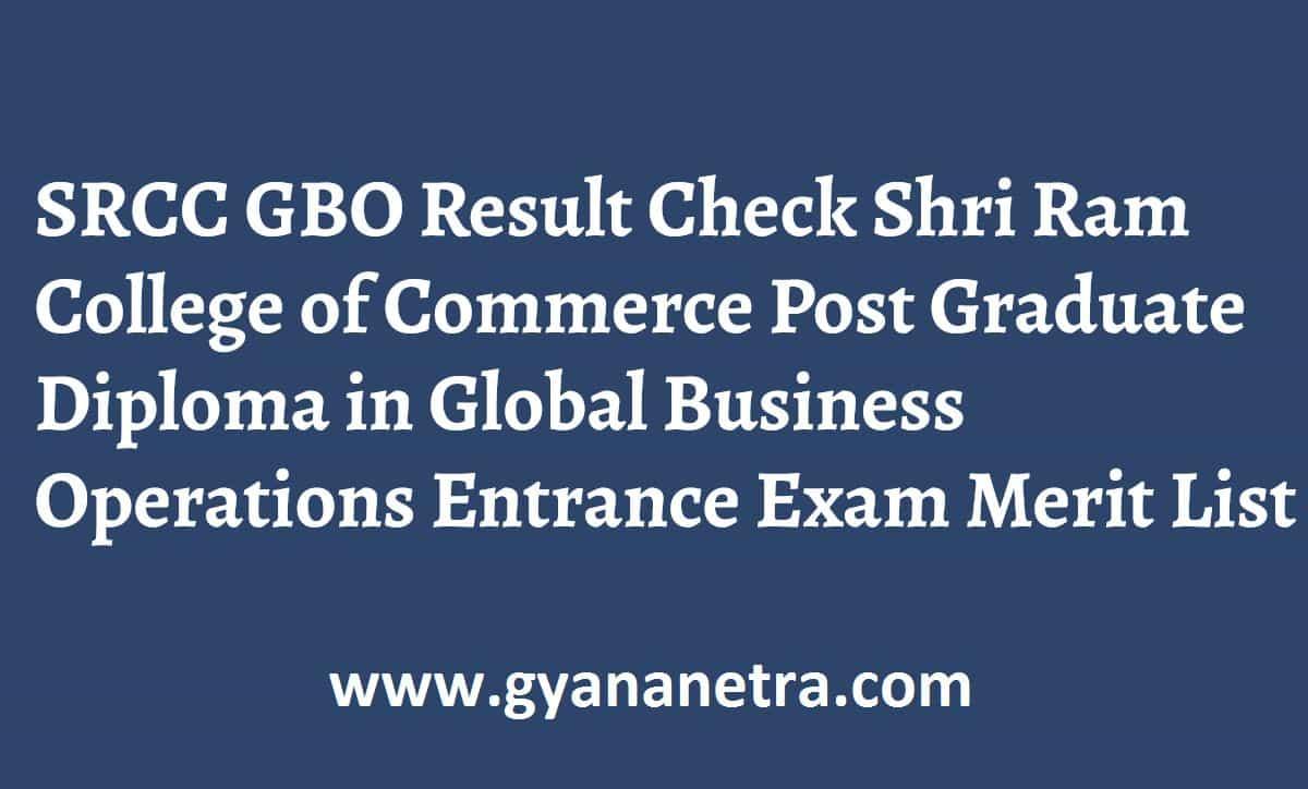 SRCC GBO Result Entrance Exam Merit List
