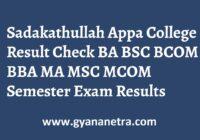 Sadakathullah Appa College Result UG PG Semester Exam