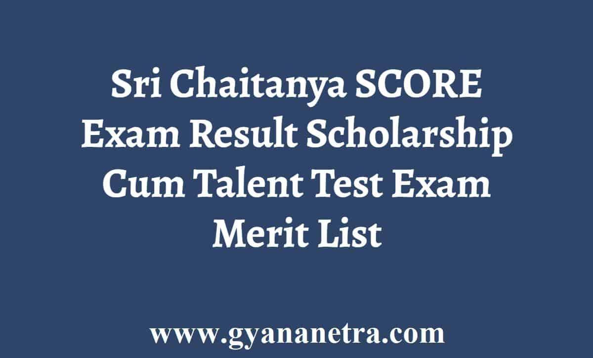 Sri Chaitanya SCORE Exam Result