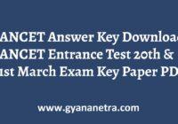 TANCET Answer Key Entrance Exam