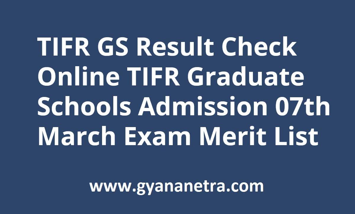 TIFR GS Result Admission Test