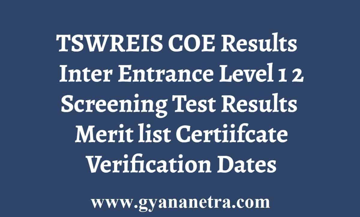 TSWREIS COE Results