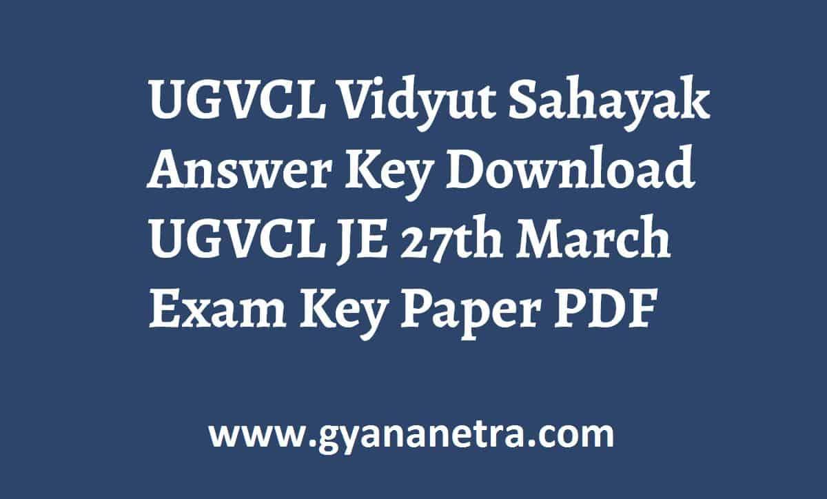 UGVCL Vidyut Sahayak Answer Key Paper PDF