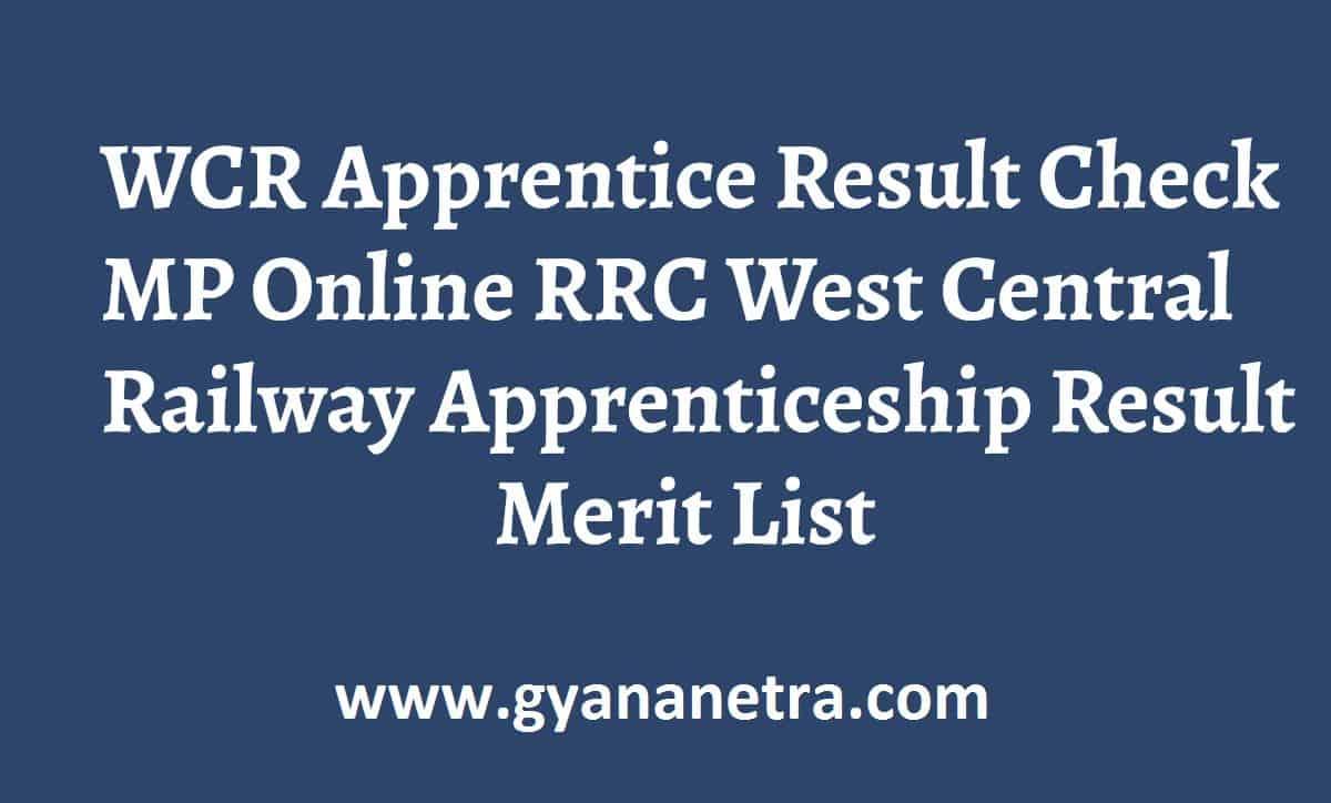 WCR Apprentice Result Merit List