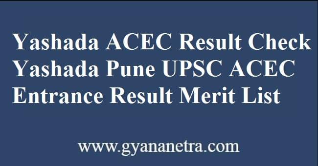 Yashada ACEC Result Check Online