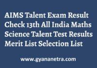 AIMS Talent Exam Result Merit List