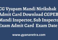 CG Vyapam Mandi Nirikshak Admit Card Exam Date