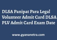 DLSA Panipat Para Legal Volunteer Admit Card