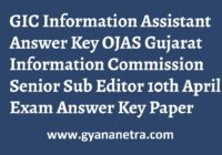 GIC Information Assistant Answer Key Paper PDF