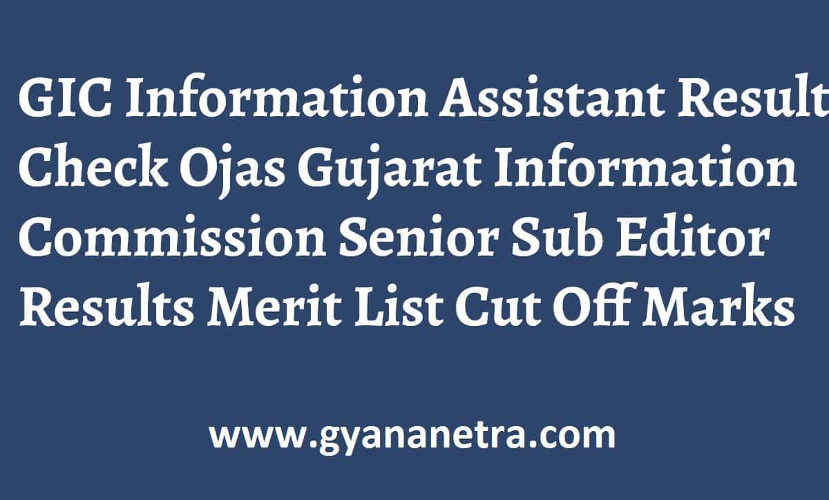 GIC Information Assistant Result Merit List
