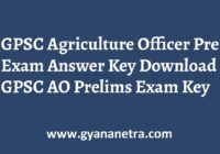 GPSC Agriculture Officer Prelims Answer Key Paper PDF