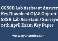 GSSSB Lab Assistant Answer Key Paper PDF