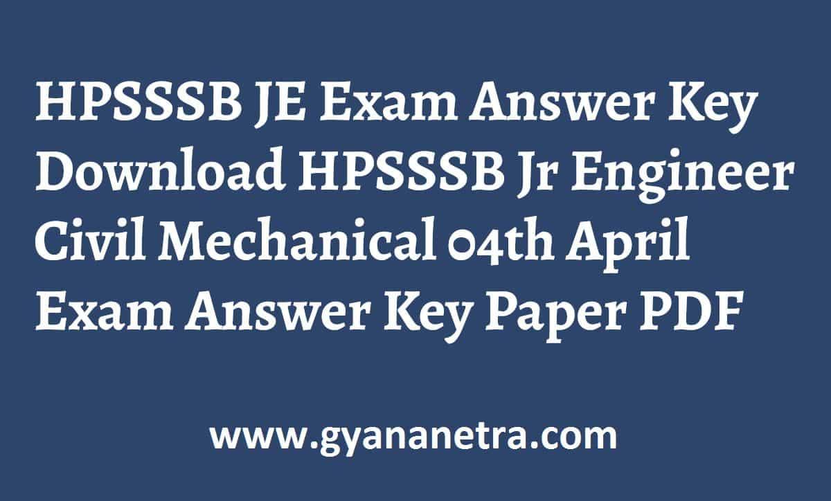 HPSSSB JE Answer Key Paper PDF
