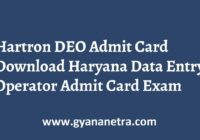 Hartron DEO Admit Card Exam Date