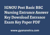 IGNOU Post Basic BSC Nursing Entrance Answer Key Paper PDF