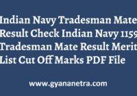 Indian Navy Tradesman Mate Result Merit List