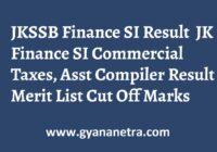 JKSSB Finance Sub Inspector Result Merit List