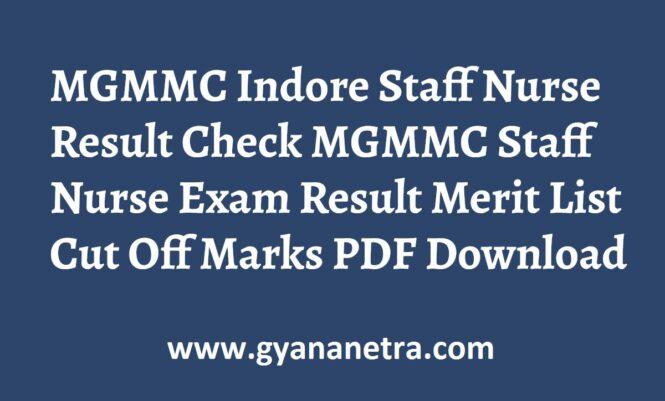 MGMMC Indore Staff Nurse Result Merit List