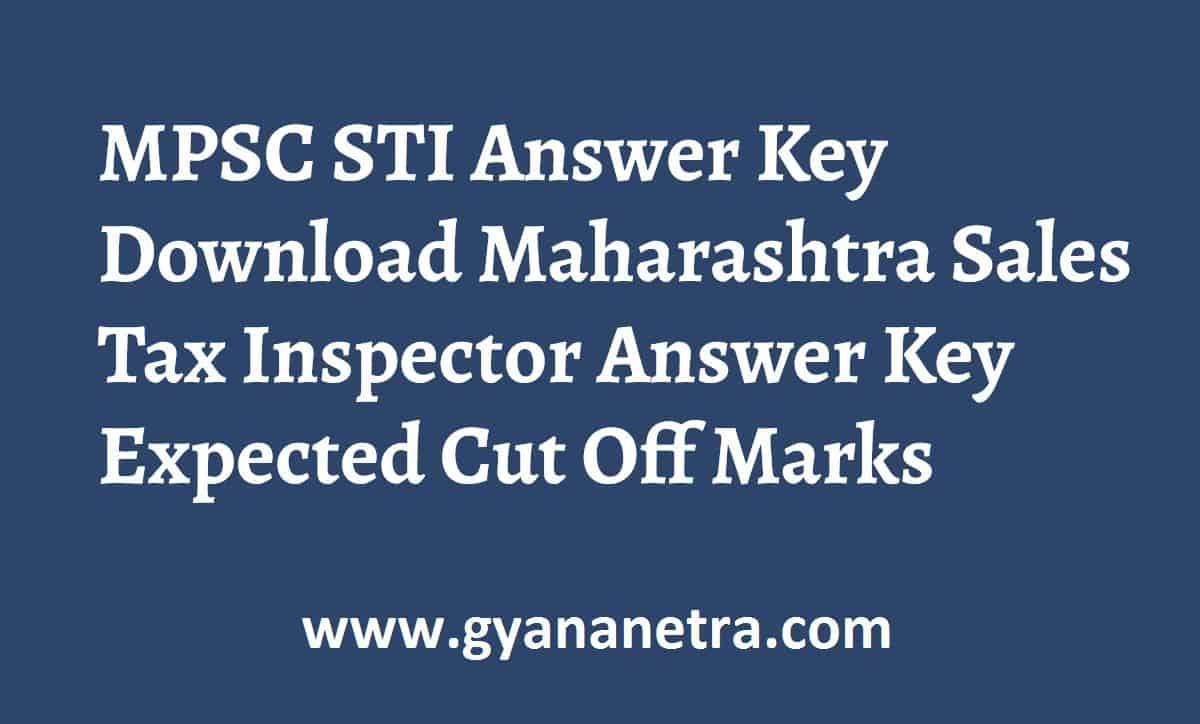 MPSC STI Answer Key Paper PDF