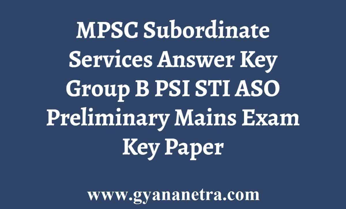 MPSC Subordinate Services Answer Key