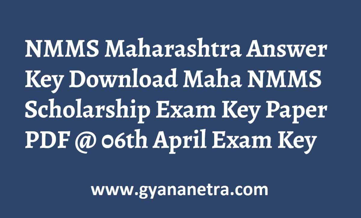 NMMS Maharashtra Answer Key Paper PDF