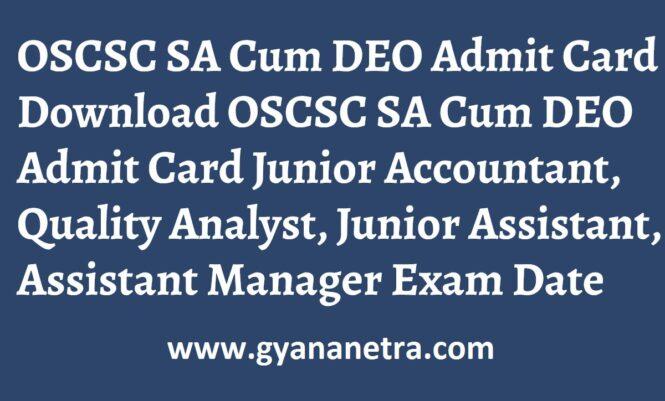 OSCSC DEO Admit Card Exam Dates