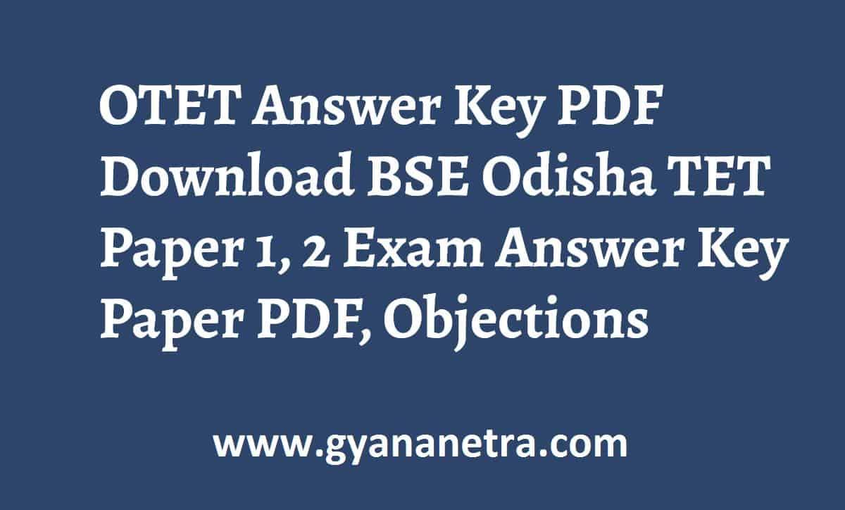 OTET Answer Key Paper PDF Odisha