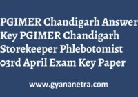 PGIMER Chandigarh Answer Key